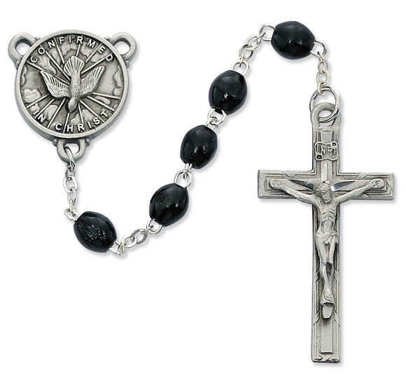 Black Wood Holy Spirit Rosary Boxed