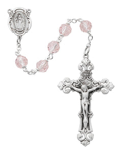 Pink Crystal Rosary Boxed