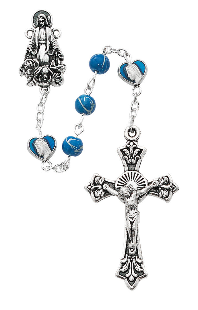 Blue Deco Glass with Hearts Rosary Boxed