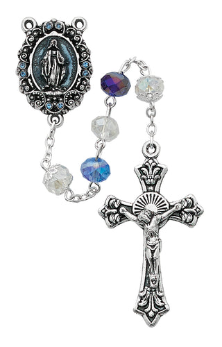 Blue Multi Crystal Rosary Boxed