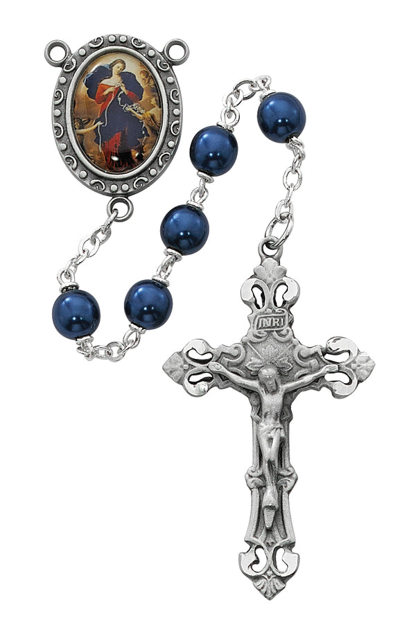 Blue Our Lady Undoer of Knots Rosary Boxed