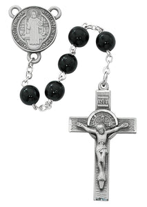 Black Wood St Benedict Rosary Boxed