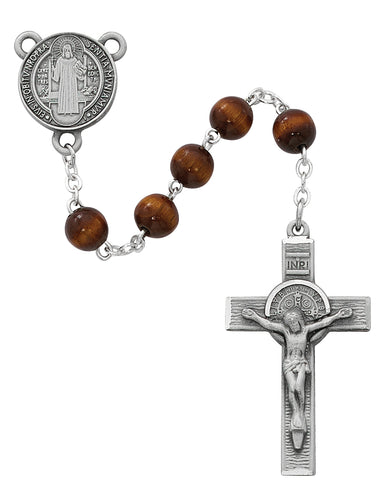 Brown Wood St Benedict Rosary Boxed