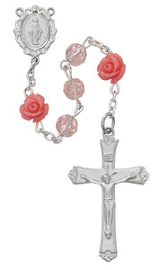 Pink Glass with Roses Rosary Boxed