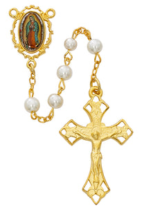 Pearl like  Glass Guadalupe Rosary Boxed
