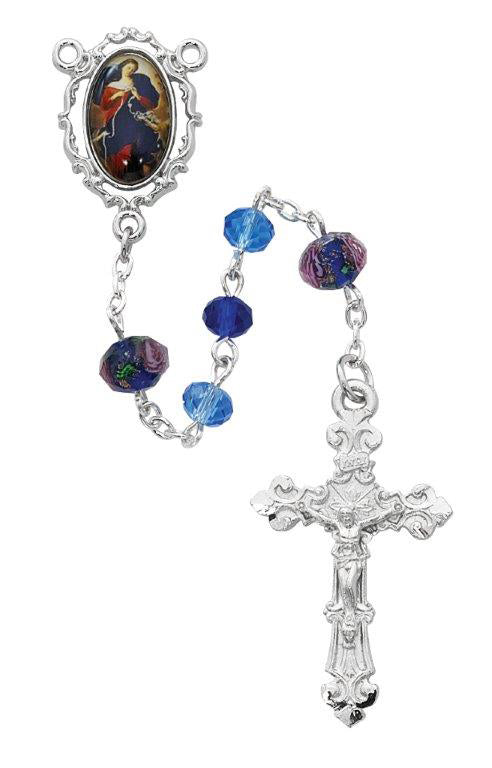 Blue  Multi Crystal Undoer of Knots Rosary Boxed