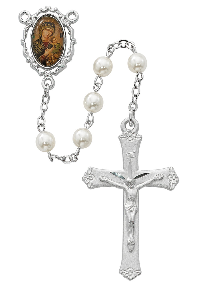 Pearl like  Glass Perpetual Help Rosary Boxed