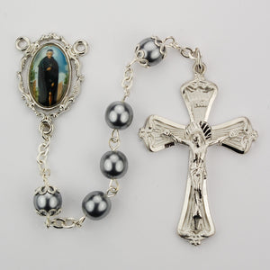Gray Glass Peregrine Rosary Boxed