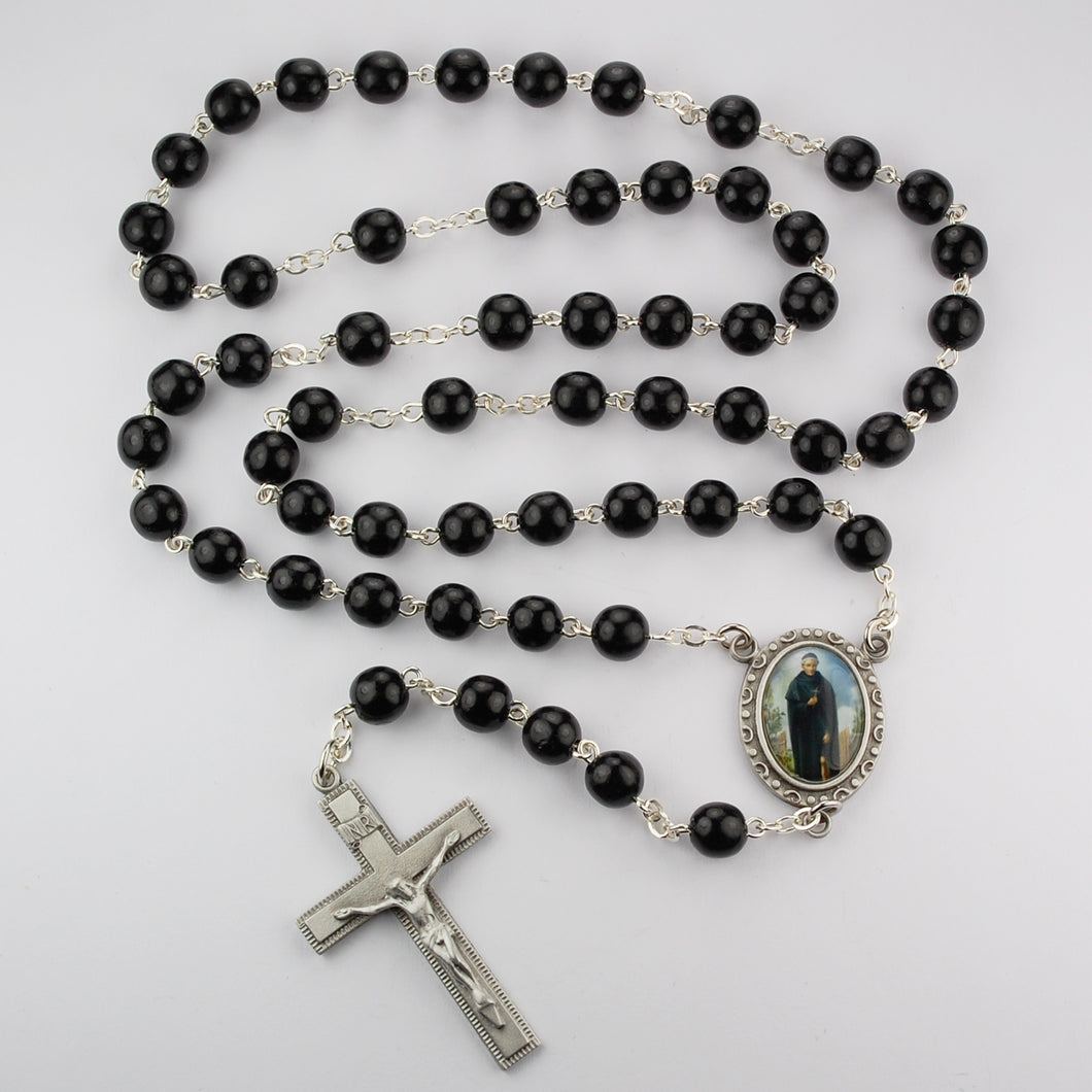 Black Wood St Peregrine Rosary Boxed