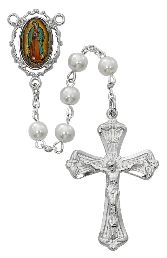 White Lady of Guadalupe Rosary Boxed.