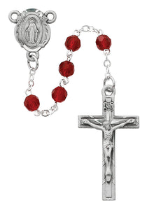 Dark Red Crystal Rosary Boxed