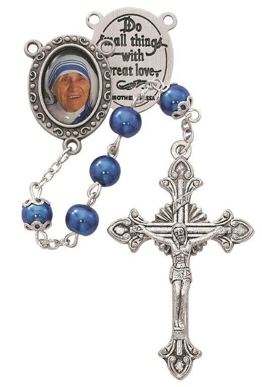 Blue Mother Teresa Rosary Boxed