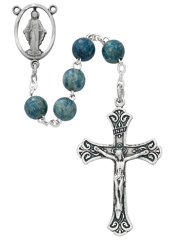 Light Blue Wood Rosary Boxed