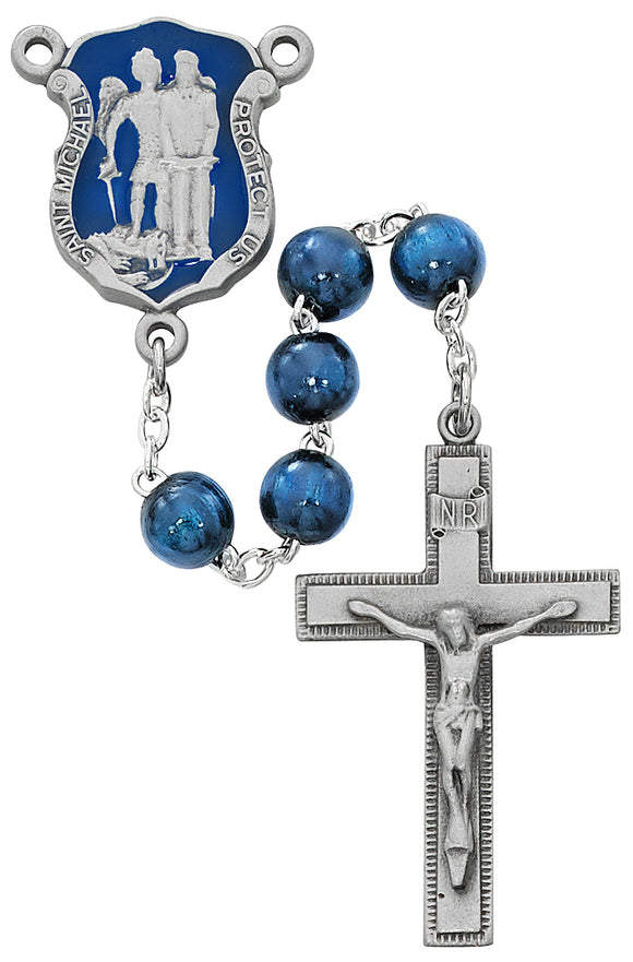 Blue Wood St Michael Badge Rosary Boxed