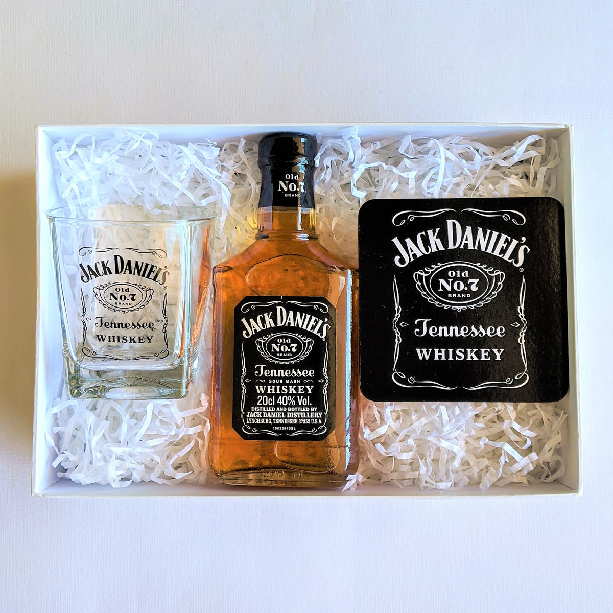 The Swirl Box men's Christmas gift box for father's day with Jack Daniel's whiskey, glass and coaster