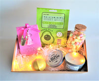 The Swirl Box Birthday Gift hamper for Her with string lights, bath salts, bath bomb, sheet mask, Apothecary candle in a tin and marshmallows candy jar