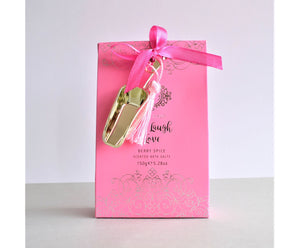 Pink pack of Berry Spice scented bath salts, 150g with golden scoop by Bath Haus