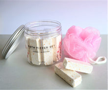 Load image into Gallery viewer, Cherry Blossom bath fizzers set of 6 rectangular bath bombs and a pink loofah in a jar