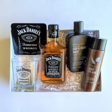 Load image into Gallery viewer, The Swirl Box Fathers day gift for him with Jack Daniel's whiskey, glass, coaster, hair and body products