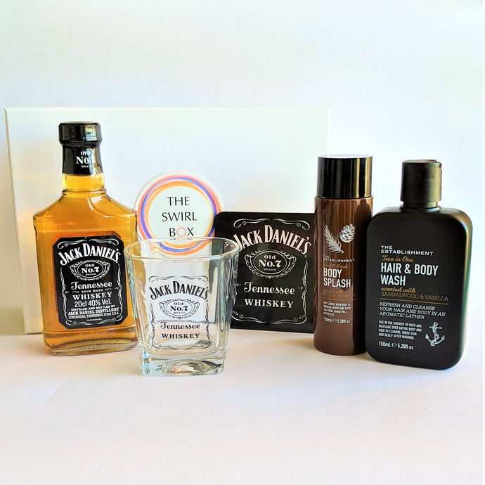The Swirl Box Fathers day gift for him with Jack Daniel's whiskey, glass, coaster, hair and body products