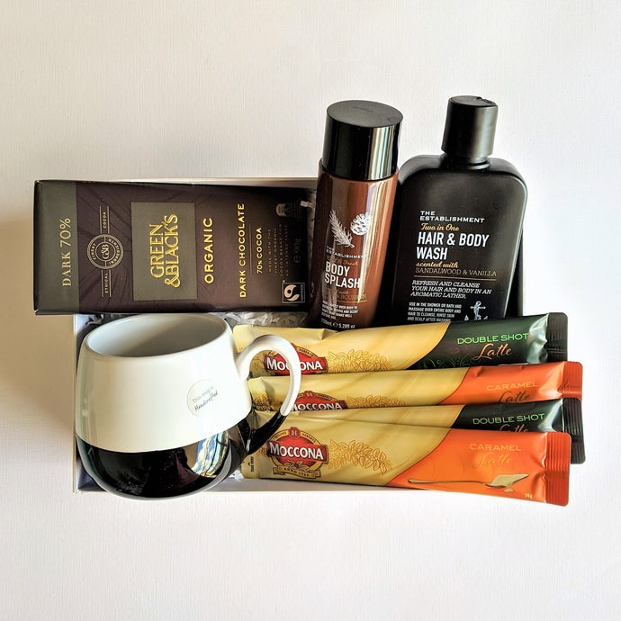 The Swirl Box Fathers day gift for him with organic chocolate, coffee, mug and bath and body products