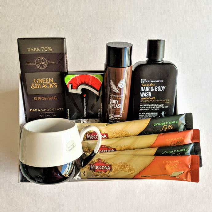 The Swirl Box Fathers day gift for him with organic chocolate, coffee, mug, sugar free gums and bath and body products