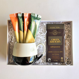 The Swirl Box Fathers day gift for him with organic chocolate, coffee and ceramic mug
