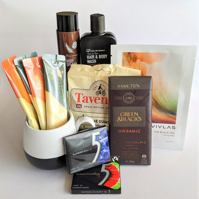 The Swirl Box Fathers day gift for him with organic chocolate, coffee, mug, wine gums, sugar free gums, face mask and bath and body products