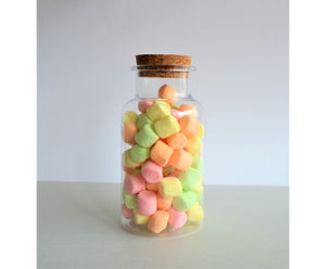Fruit Marshmallows in a candy jar with a cork lid
