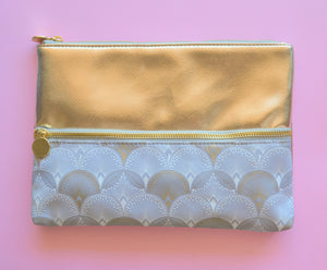 Two tone golden and grey white semi-circular print design make up and cosmetic bag with 2 zips
