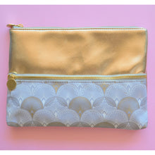 Load image into Gallery viewer, Gold, white and grey Make up and Cosmetic Bag