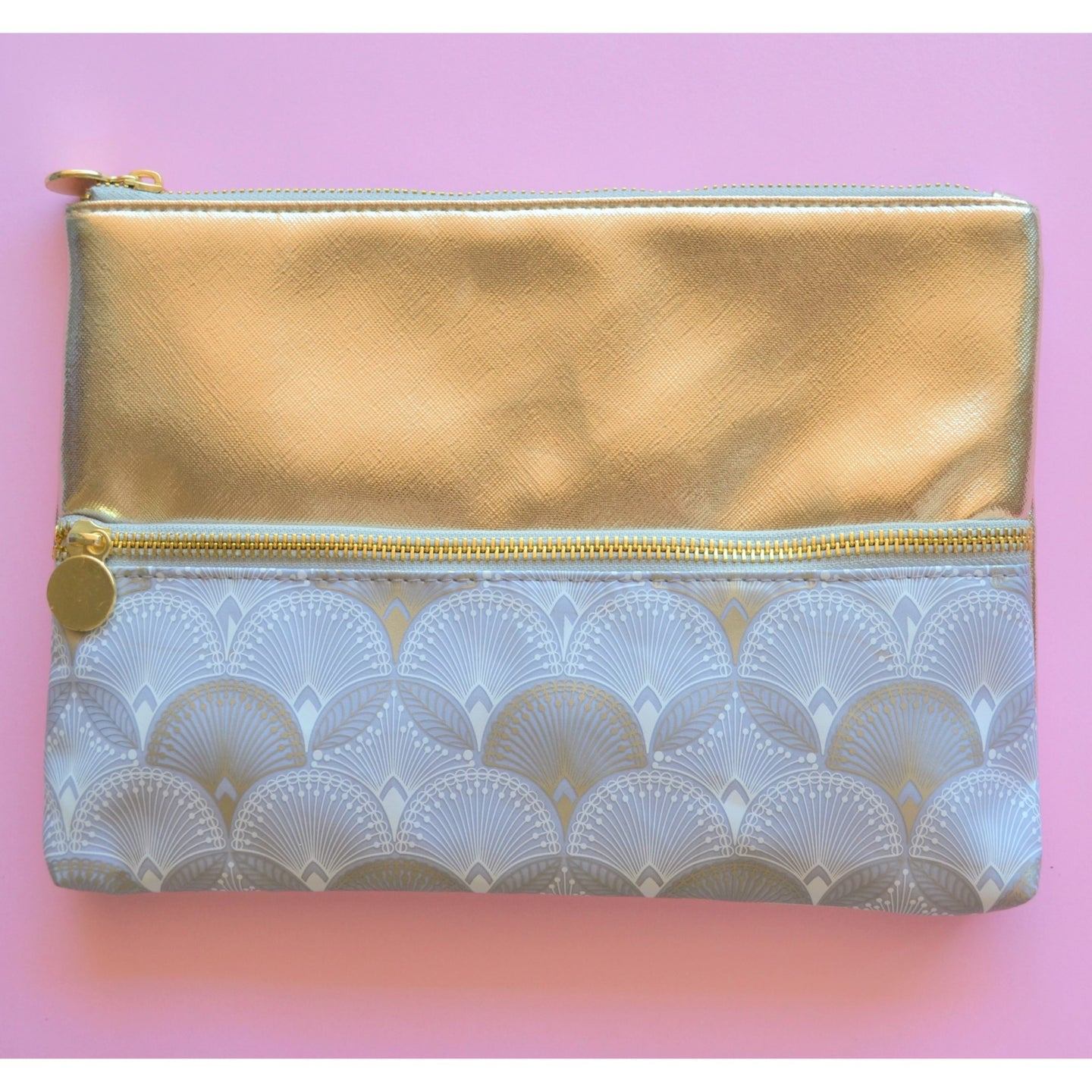 Gold, white and grey Make up and Cosmetic Bag