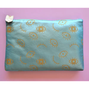 Make up and Cosmetic Bag - Pearl blue with golden eyes