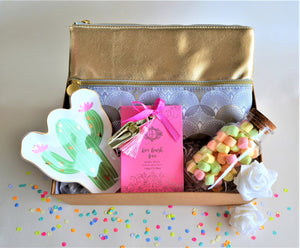 The Swirl Box Gift Hamper for Her birthday or anniversary with bath salts, cosmetic pouch bag, trinket tray ring dish and marshmallow candy jar