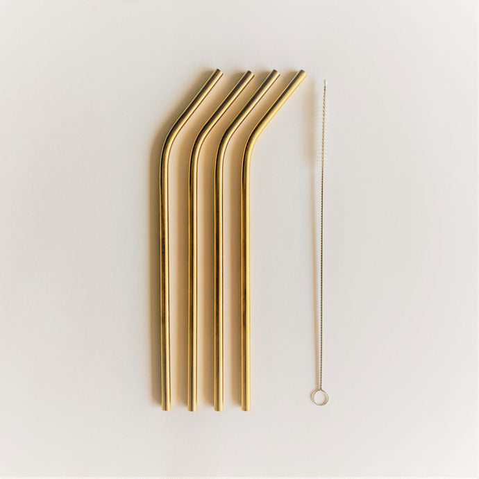 The Swirl Box 4 gold stainless steel straws with cleaning brush