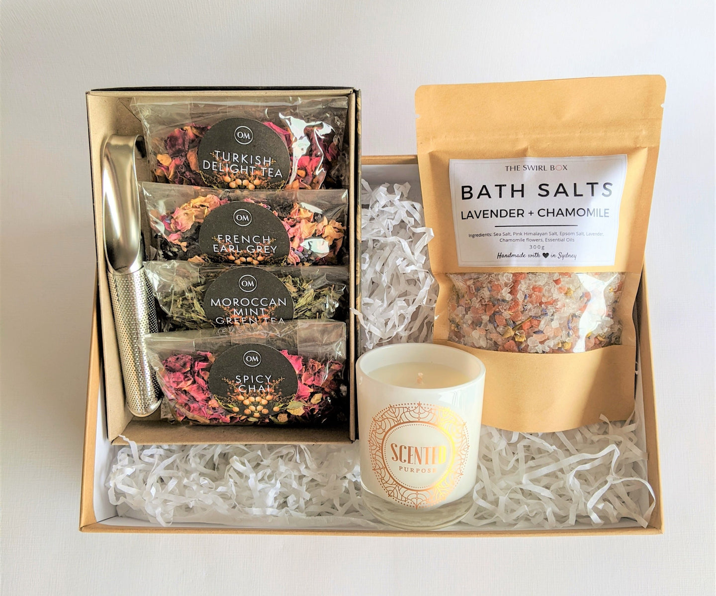 Swirl Box Spa Delight Gift Box for her with Tea Set, candle and bath salts with florals and essential oils