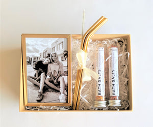 The Swirl Box Personalised gift box for her with photo frame, gold stainless steel straws and bath salt tubes