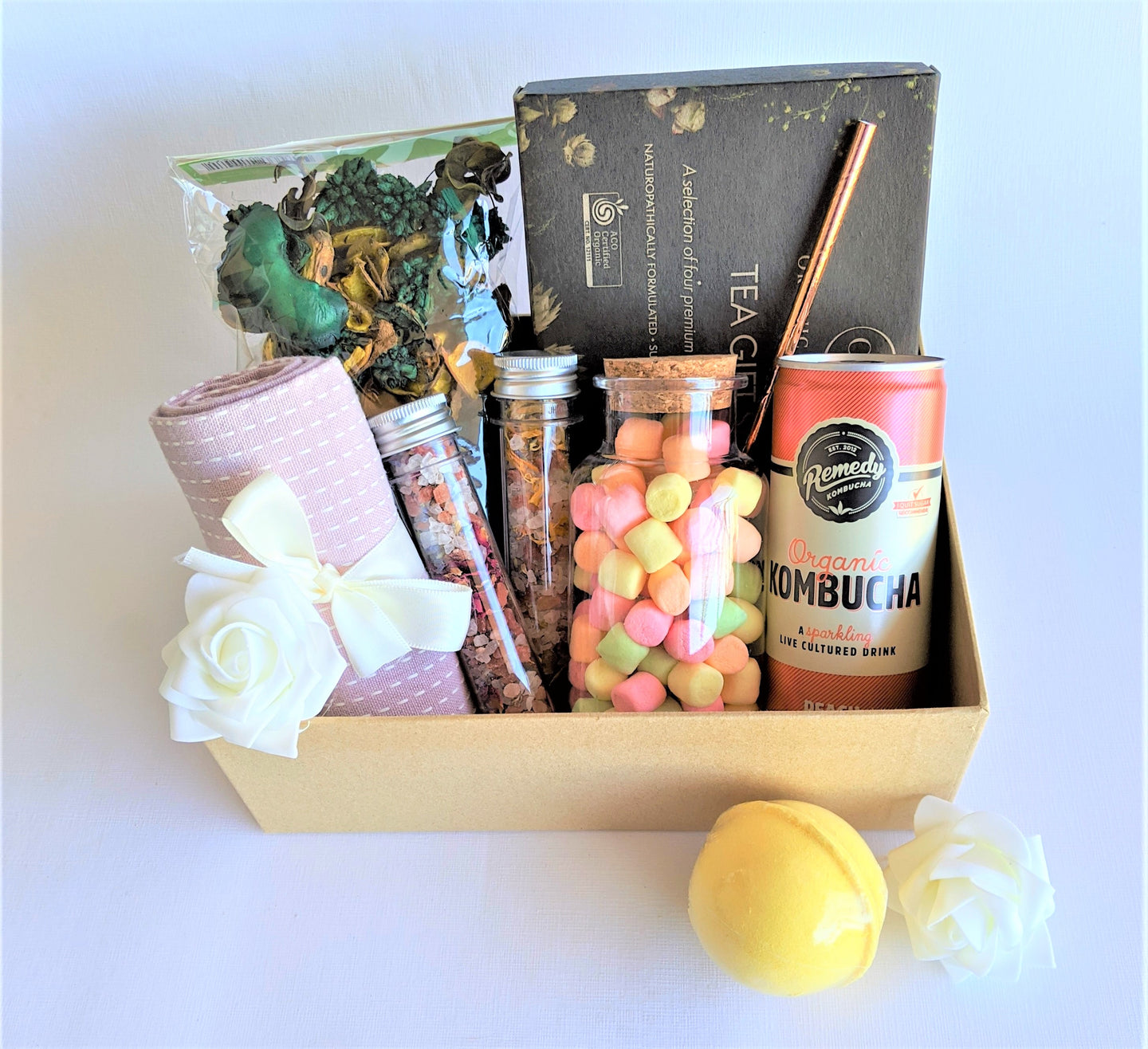 The Swirl Box Mother's day gift hamper with organic tea set, tea towel, Marshmallows, Kombucha, Pot pourri, Bath salts and bath bomb in a gift box