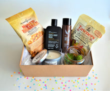 Load image into Gallery viewer, The Swirl Box Father's day or birthday Gift Hamper for him with men's hair & body wash and body mist, honey roasted peanuts, gummies, candle and fake succulents in glass pot