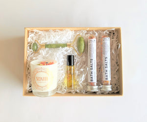 The Swirl Box Pamper Hamper gift box with candle, bath salts, essential oil roller and jade roller