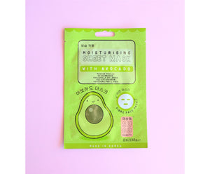 Moisturising sheet mask with avocado, fibre face mask by SUGU Beauty, made in Korea