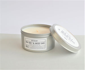 Apothecary Sea Salt & Wood Sage fragrance soy wax candle in a silver tin with lid, up to 15 hours burning time
