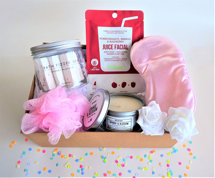 The Swirl Box Gift Hamper for her birthday, anniversary or Mother's day with bath fizzers, loofah, sheet mask & face serum, Apothecary candle and eye mask