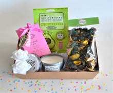 Load image into Gallery viewer, The Swirl Box Gift Hamper for her birthday, anniversary or Mother's day with bath salts, face sheet mask, Apothecary candle in a tin and potpourri