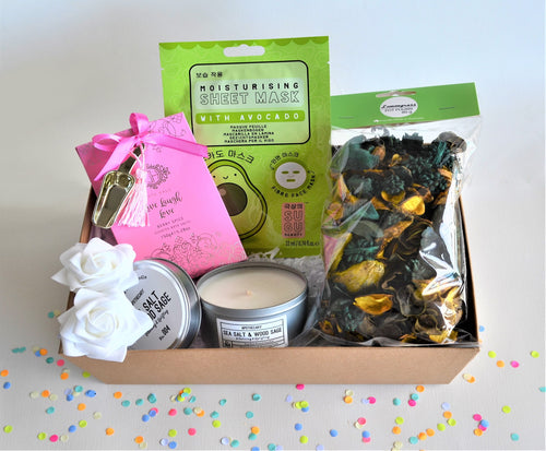 The Swirl Box Gift Hamper for her birthday, anniversary or Mother's day with bath salts, face sheet mask, Apothecary candle in a tin and potpourri