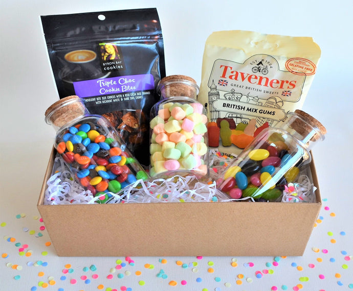 The Swirl Box Birthday or get well soon Gift Hamper for him/her with candies and cookies