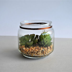 Swirl Box Faux Succulents in a glass jar