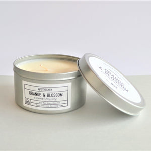 Swirl Box Orange and Blossom Soy Candle in tin