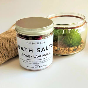 The Swirl Box Rose Lavender Bath Salts in jar