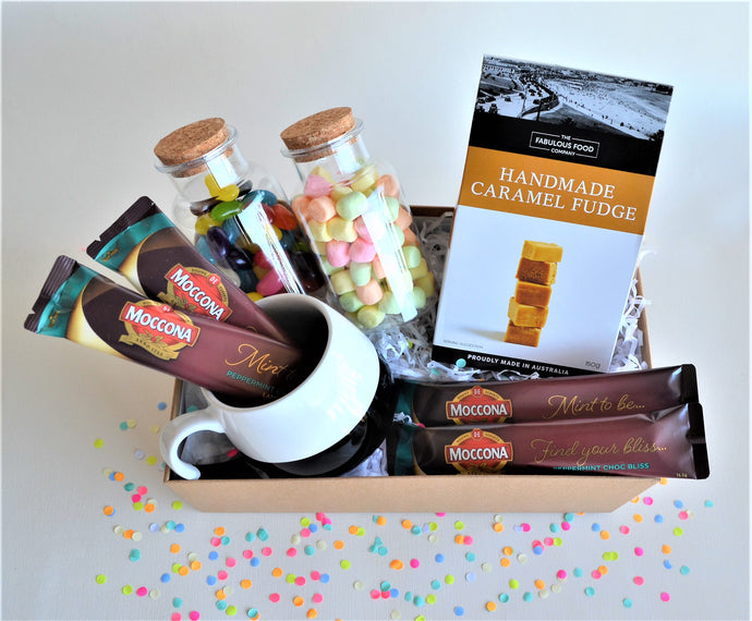 The Swirl Box Birthday or Get Well Soon Gift hamper for him/her with coffee sachets, mug, caramel fudge, and marshmallows & jelly beans in candy jars
